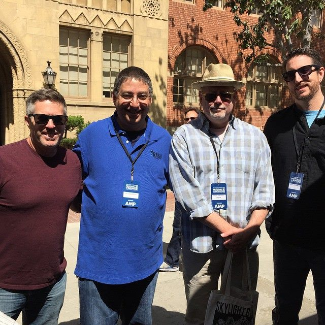Lee with authors Brett Battles, Mark Haskell Smith, and Paul Tremblay at the Los Angeles Times Festival of Books 2015