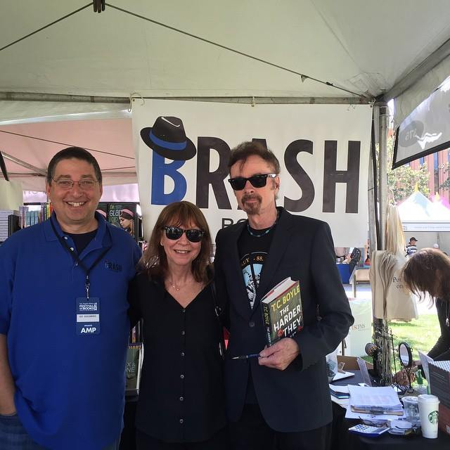 Lee with Cara Black and TC Boyle at the Los Angeles Times Festival of Books