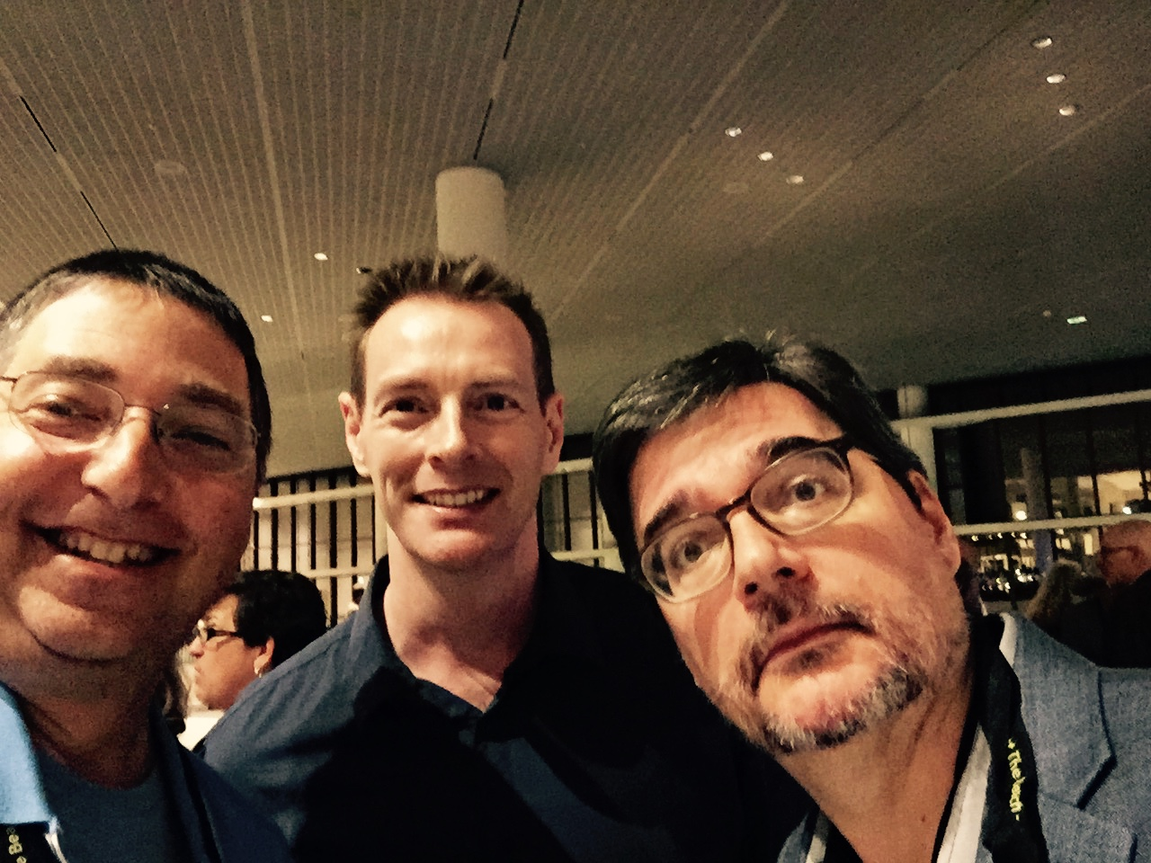 The Co-Authors club: Lee Goldberg, Boyd Morrison, and Phoef Sutton at Bouchercon 2014