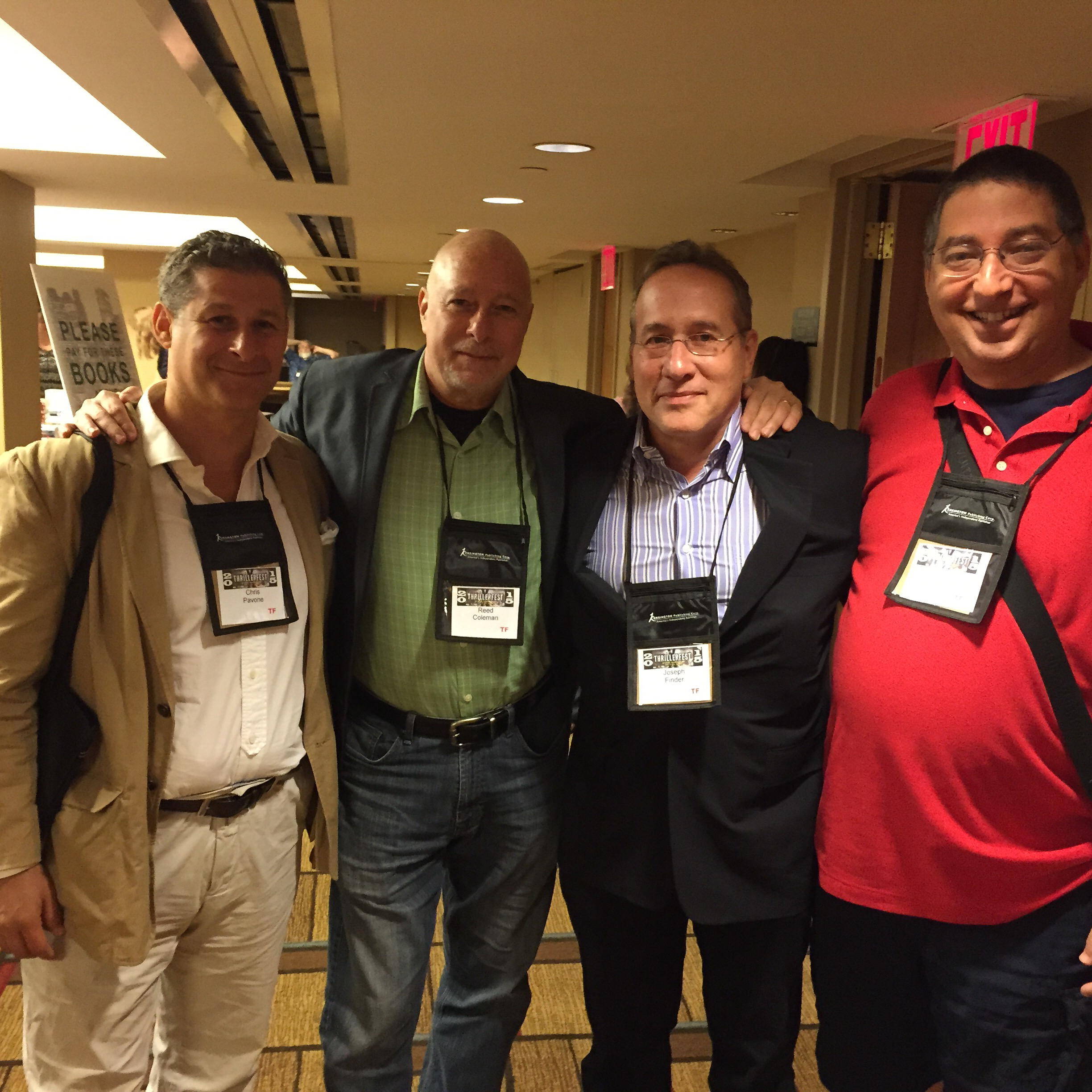 Chris Povone, Reed Farrel Coleman, Joseph Finder and Lee at Thrillerfest 2015