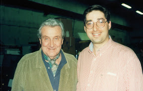 Patrick MacNee and Lee Goldberg on set of Diagnosis Murder