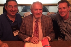 Lee, Clive Cussler, and Boyd Morrison at Thrillerfest 2015