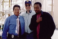 Sammo Hung, Lee Goldberg, Arsenio Hall on set of Martial Law