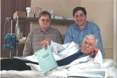 William Rabkin, Lee Goldberg and Dick Van Dyke on set of Diagnosis Murder