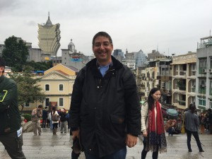 Here I am in Macau...with the Grand Lisboa casino tower in the background