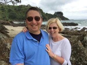 My wife Valerie and me on a beautiful beach on Waiheke Island