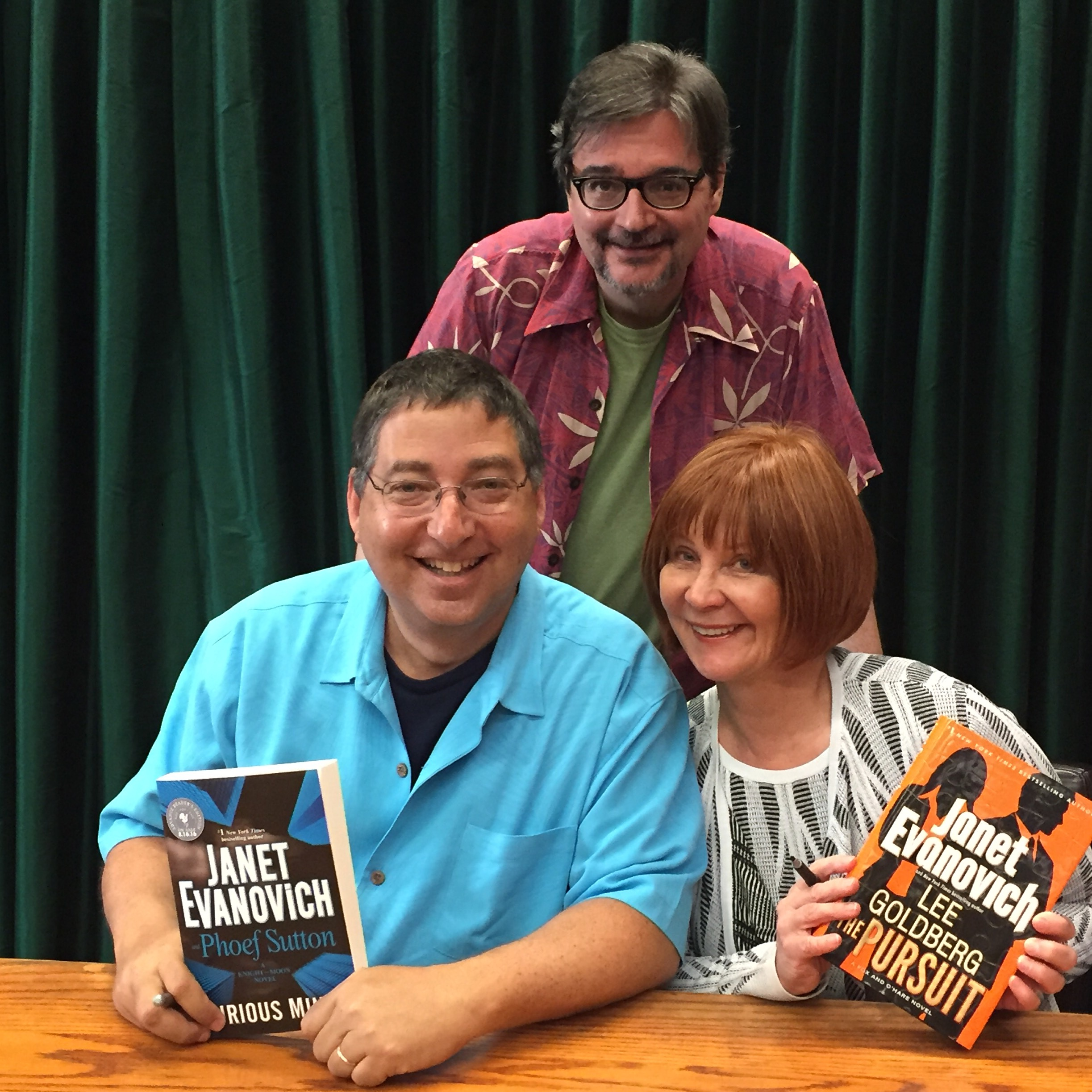 Janet Evanovich and her hunky co-authors Lee and Phoef Sutton at Vroman's in Pasadena 6/22/16