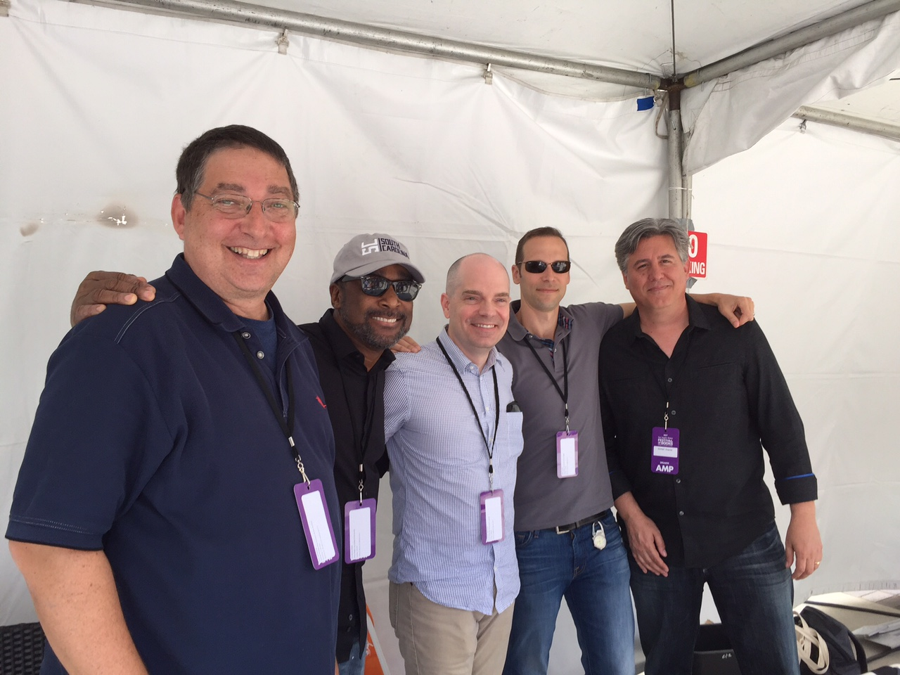 Lee with Eric Jerome Dickey, Chris Farnsworth, Gregg Hurwitz and Daniel Suarez at the LA Times Festival of Books 2017