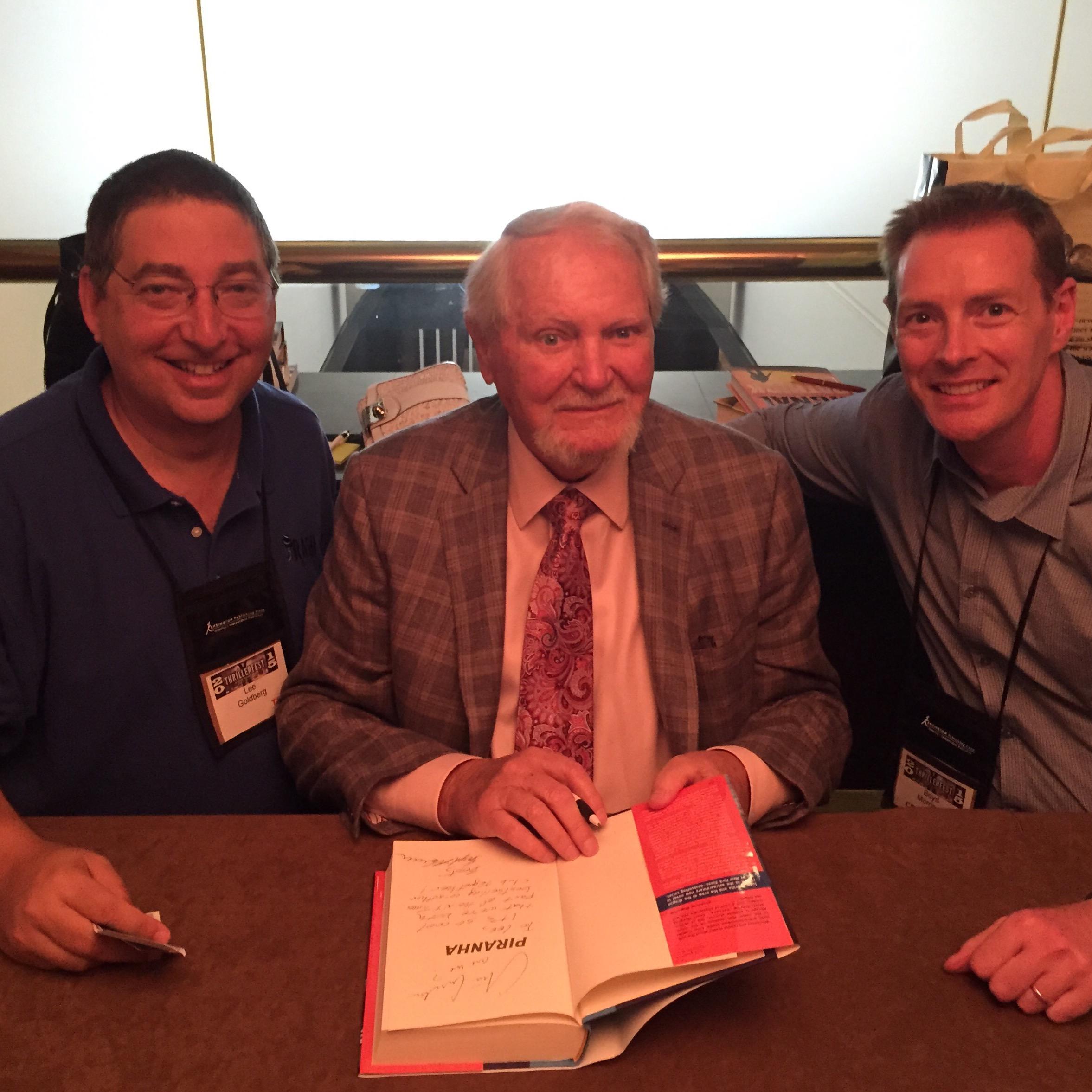 Lee, Clive Cussler, and Boyd Morrison at Thrillerfest 2015