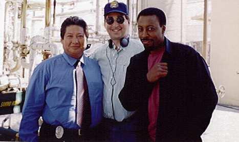 Sammo Hung, Lee Goldberg, Arsenio Hall on set of Martial Law