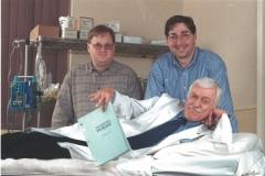 William Rabkin, Lee Goldberg and Dick Van Dyke on set of Diagnosis Murder